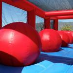 Wiped Out Red Inflatable Obstacles Inside