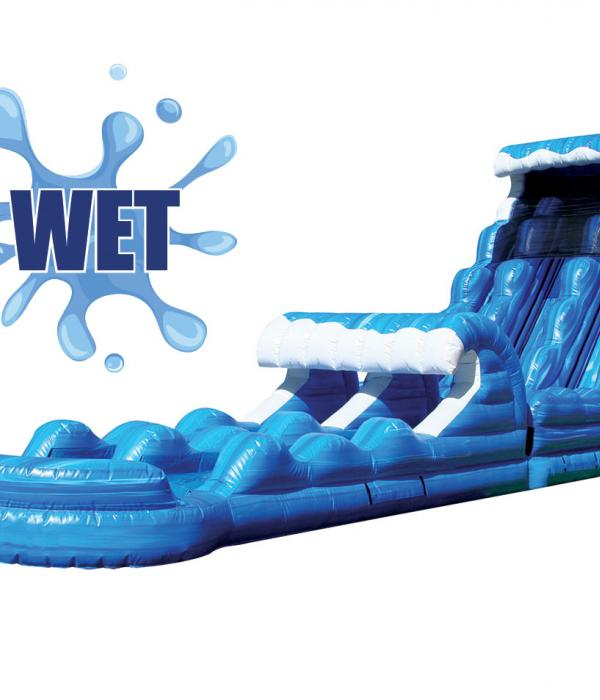 22 foot super slide and splash, blue water slide, water slide logo