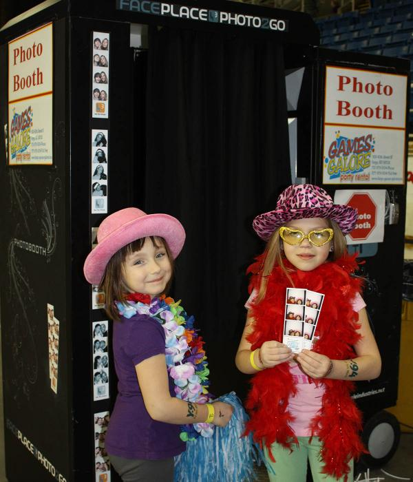 Photo booth enclosed with props
