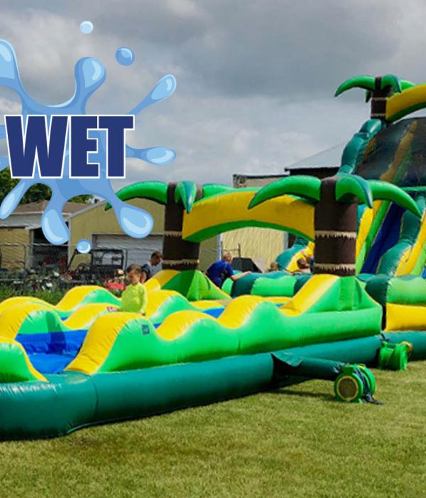 Tropical Slide and Splash Water Slide Wet Lettering
